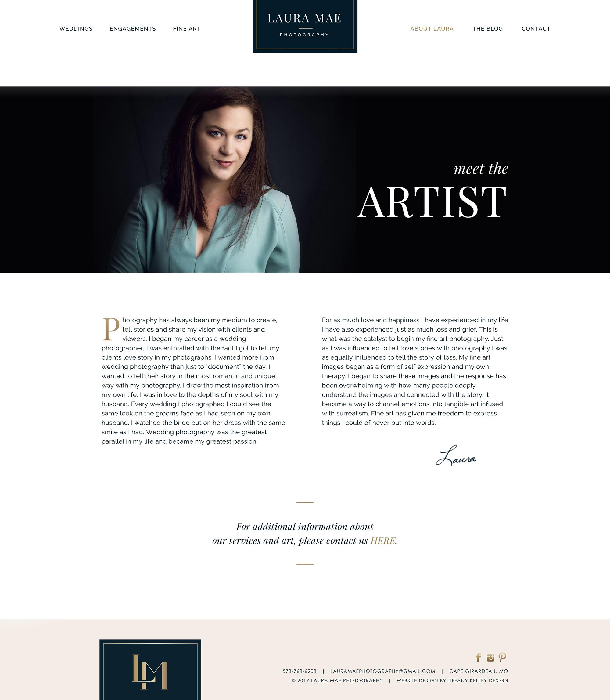 about the artist web design laura mae photography