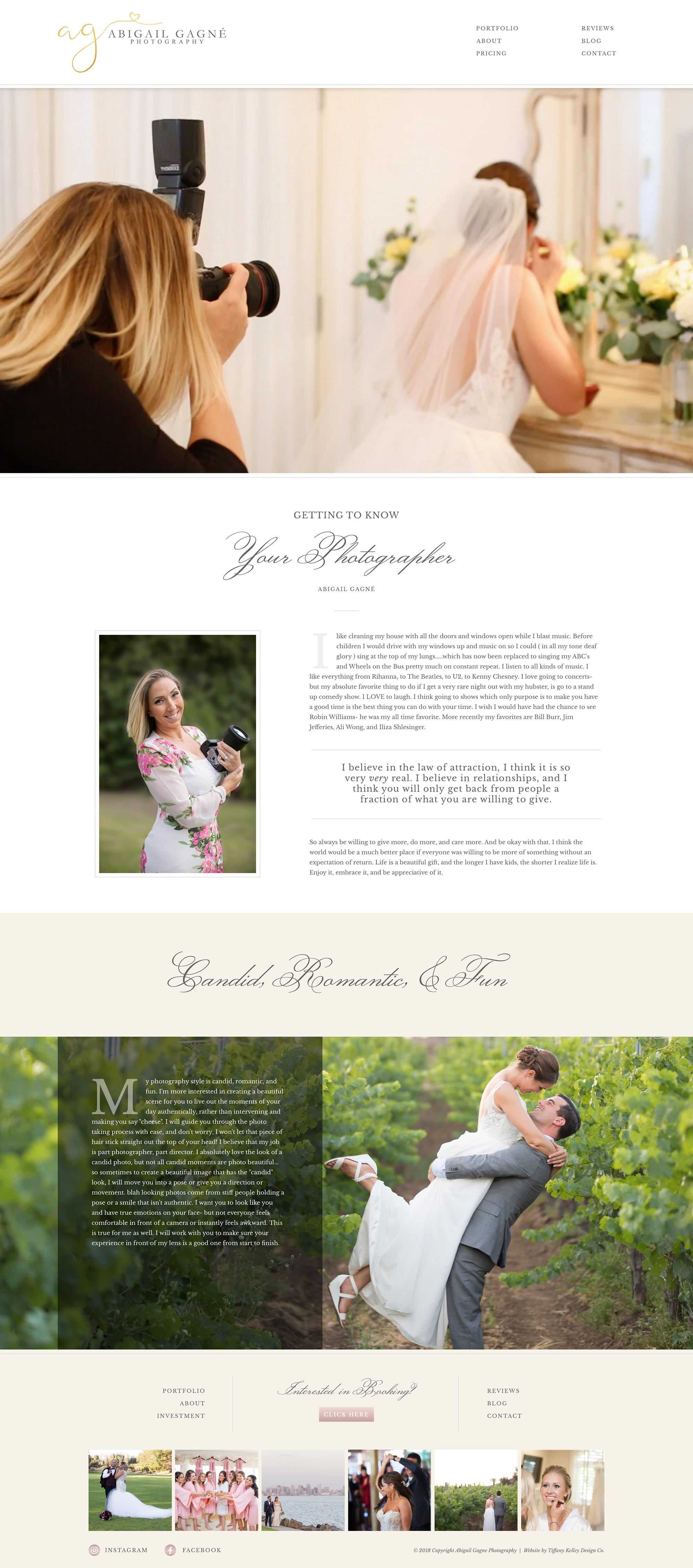 about web design abigail gagne photography