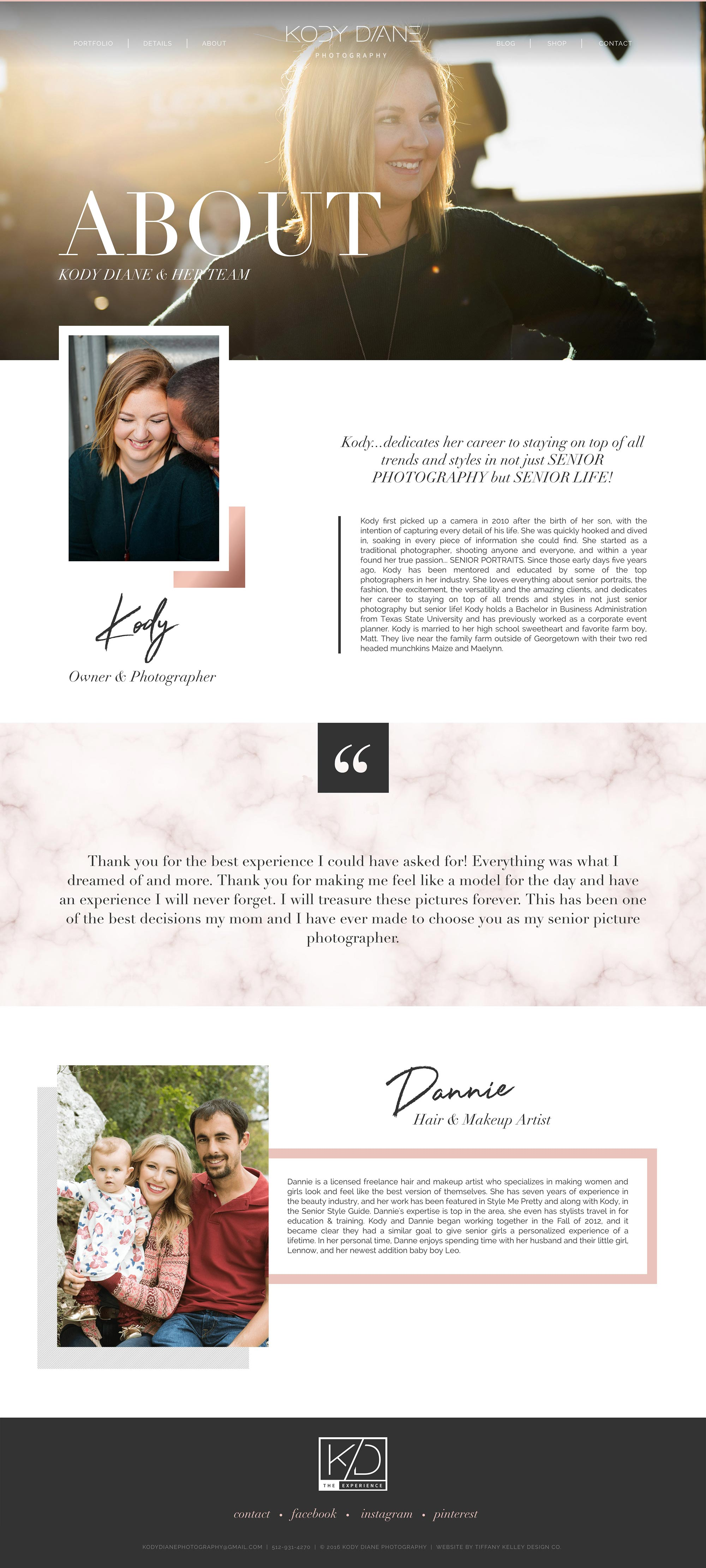 about web design kody diane photography