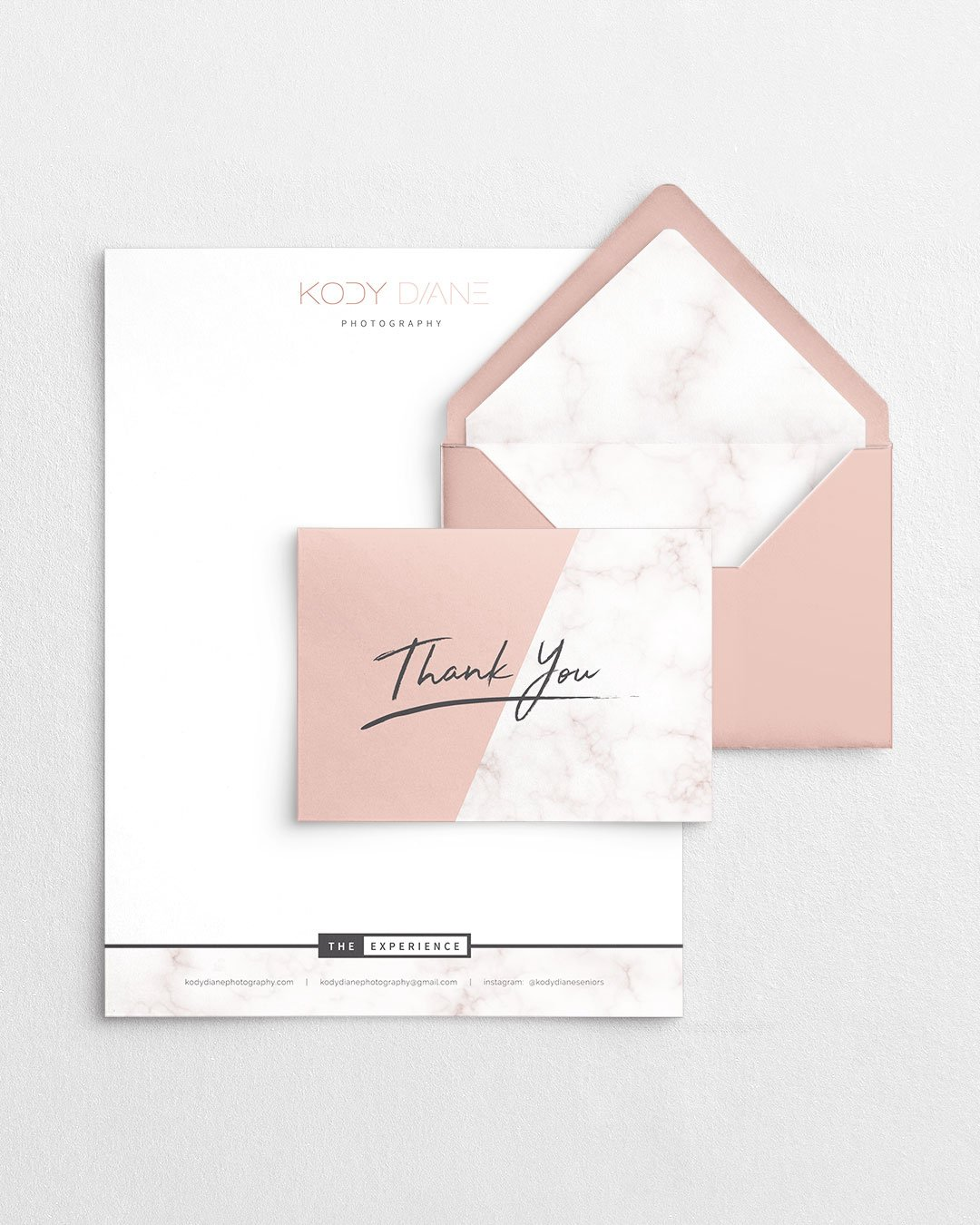 collateral design letterhead thank you card kody diane photography