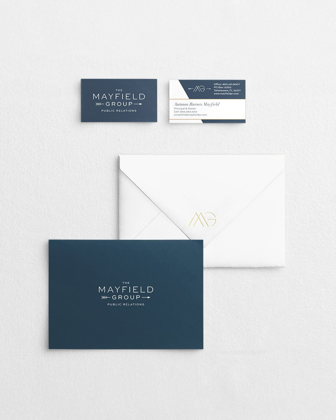 custom collateral design card mayfield group public relations by taney creative