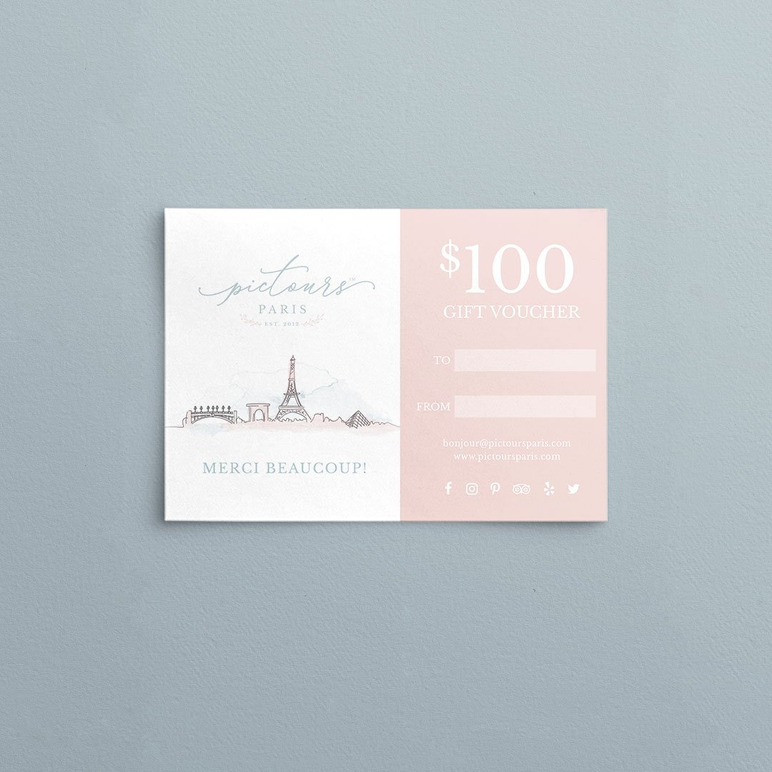 custom gift card design pictours paris business by taney creative