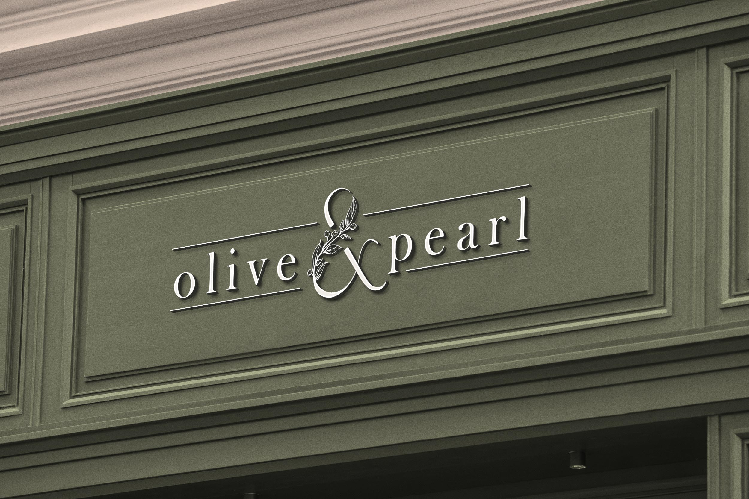 custom logo store sign ollive pearl photography design by taney creative