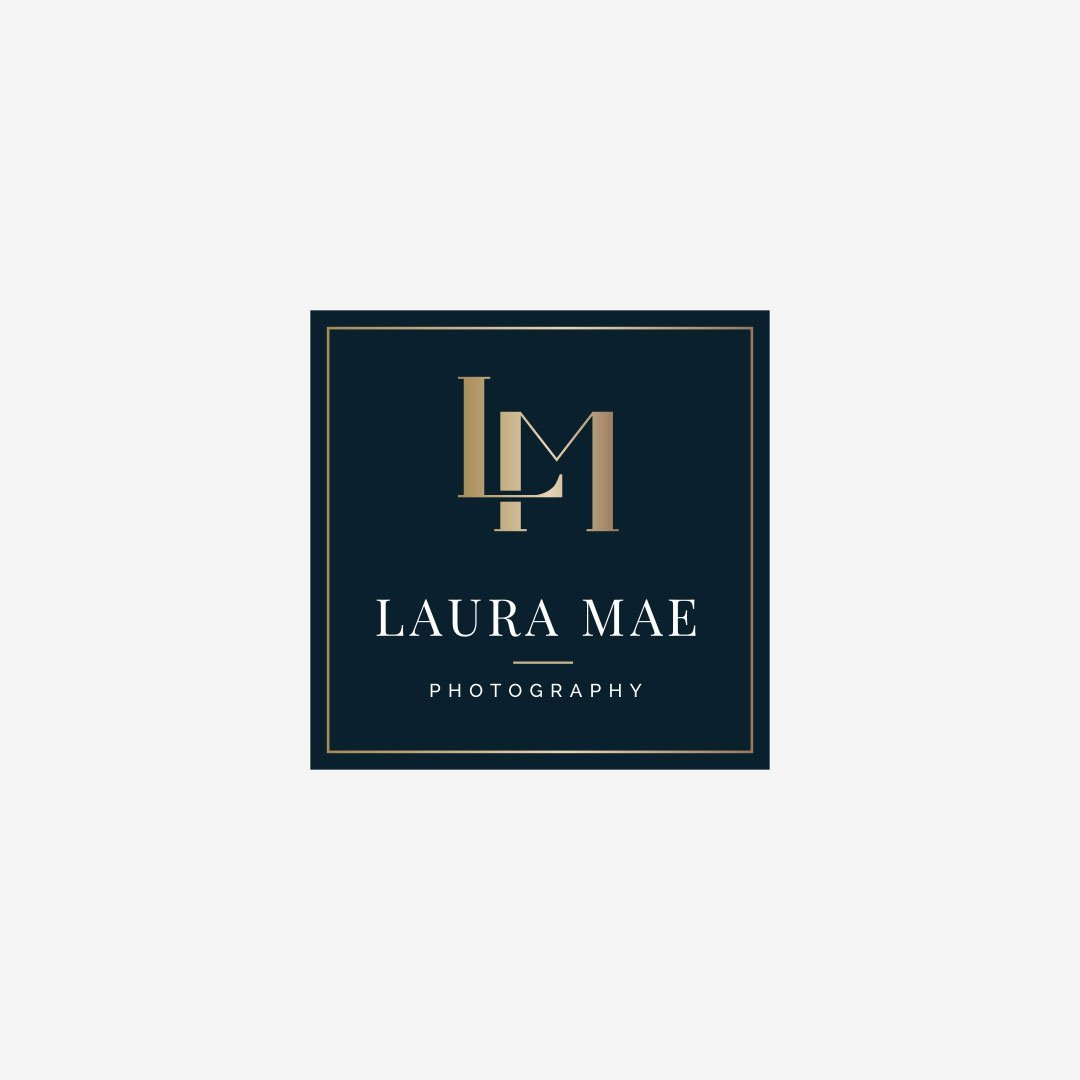 custom luxury logo laura mae photography design by taney creative