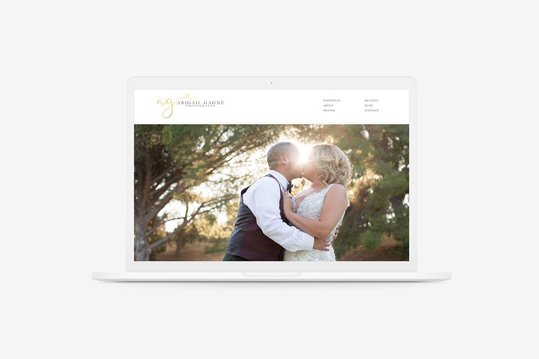 custom website for wedding photographer abigail gagne by taney creative