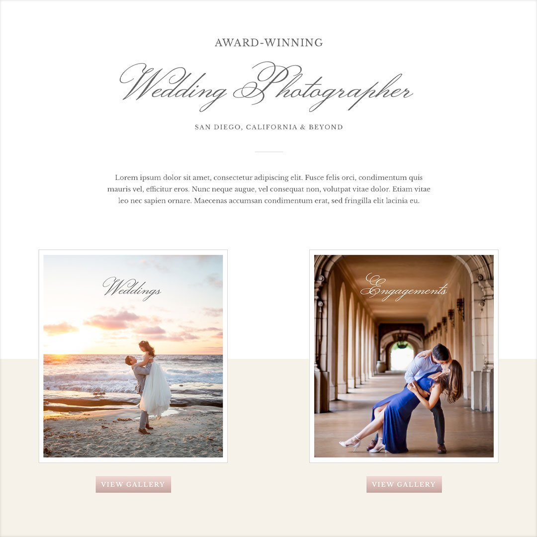 elegant typography web design for wedding photographer abigail gagne