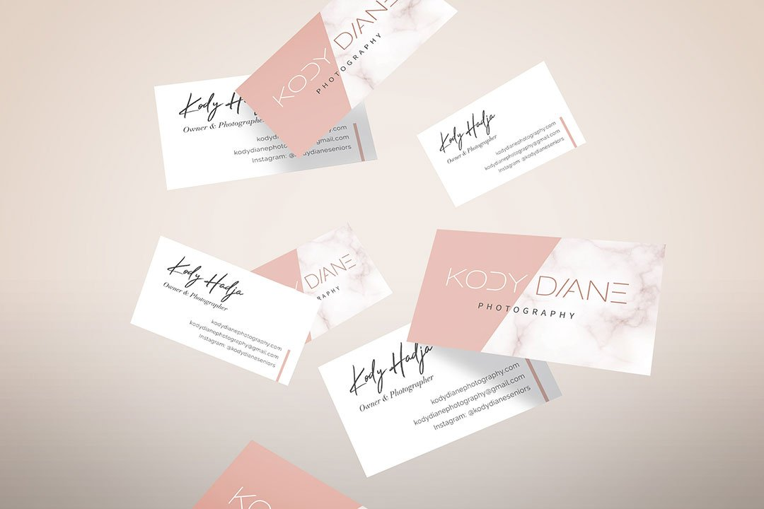 kody diane marble business cards pink by taney creative
