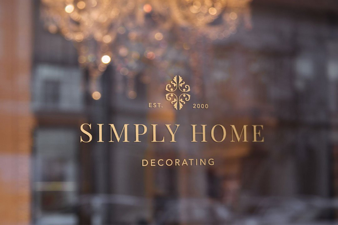 logo design window decal simply home design by taney creative