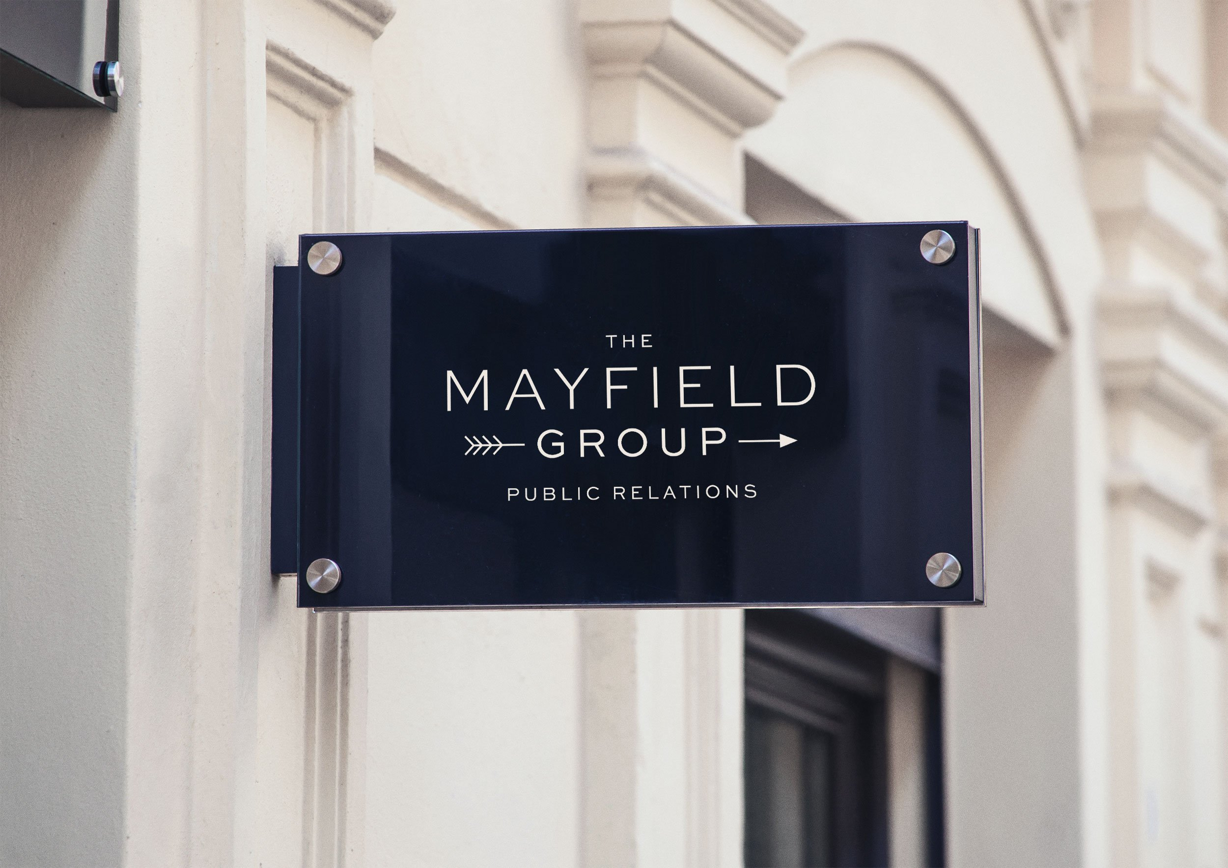 luxury logo design mayfield group public relations firm