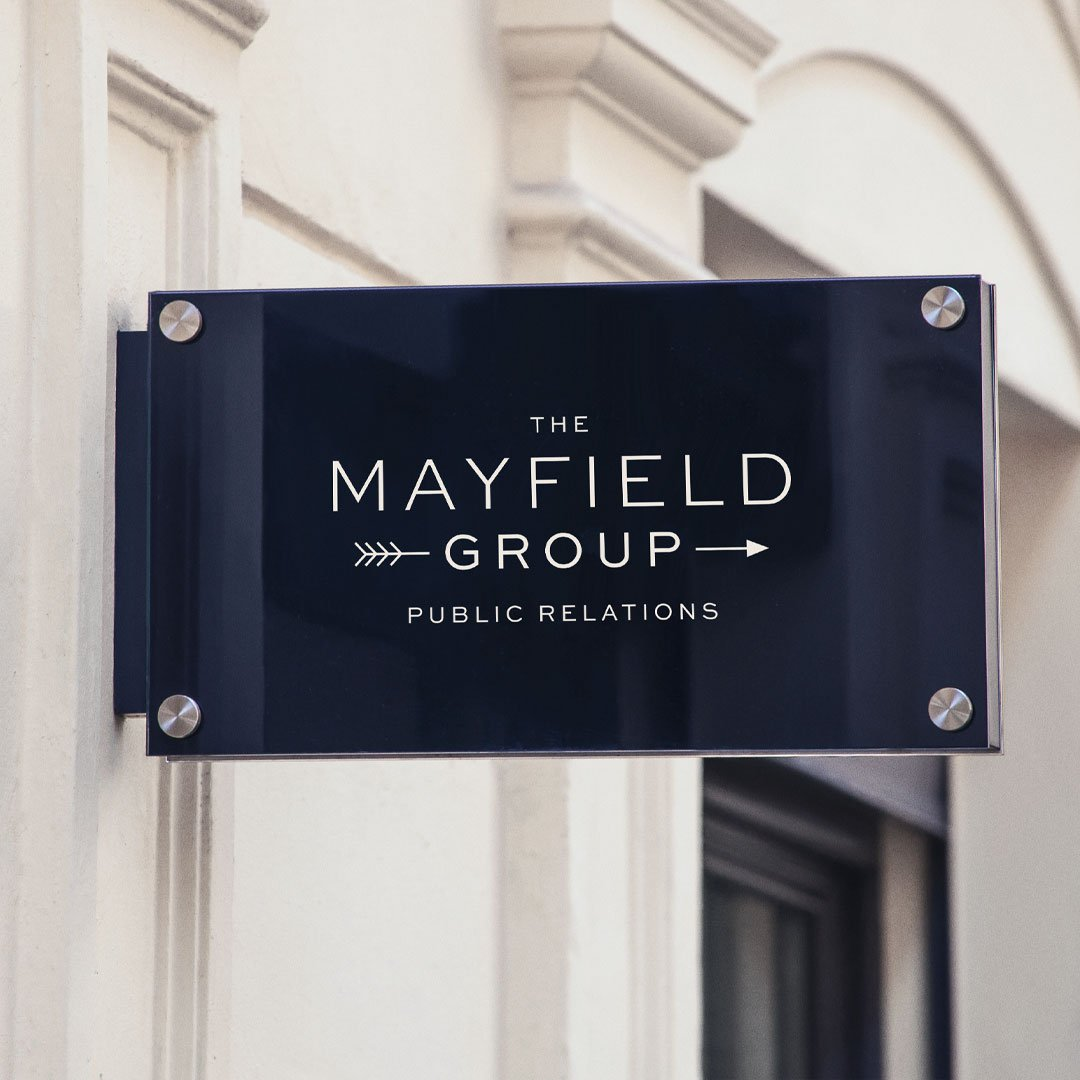 luxury logo design mayfield public relations group by taney creative