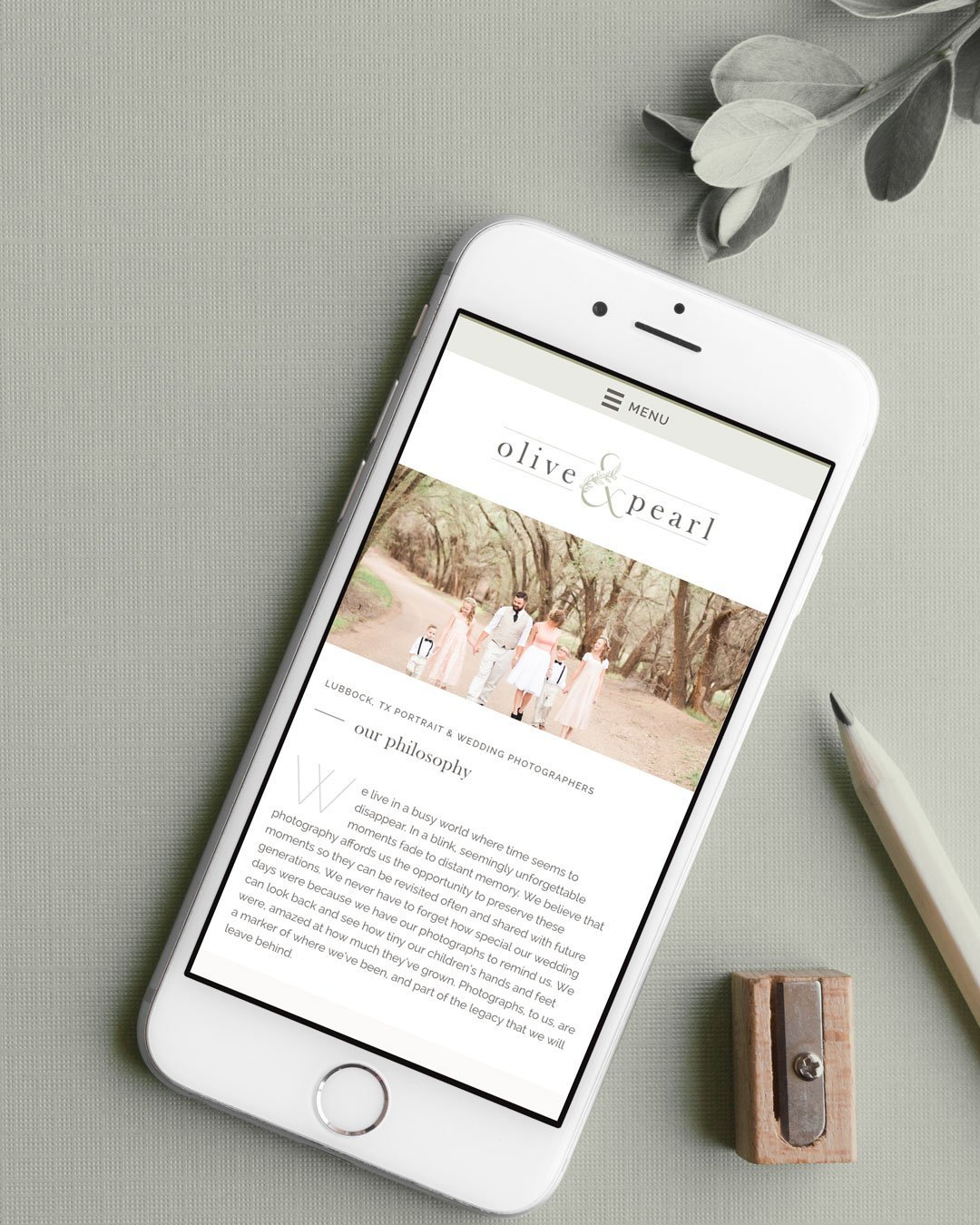 mobile website design olive pearl photography responsive phone design by taney creative