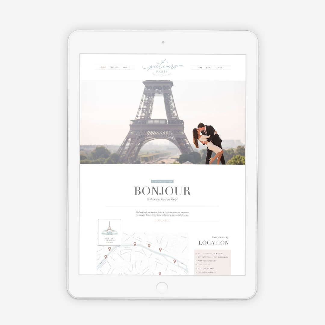 pictours paris photography website design by taney creative