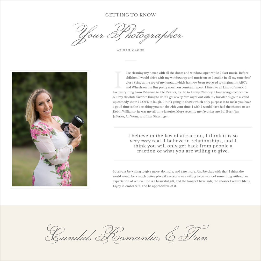 romantic script font website design agigail gagne photography