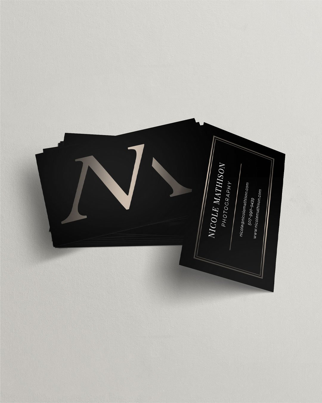 business card design dark black gold nicole mathison photography