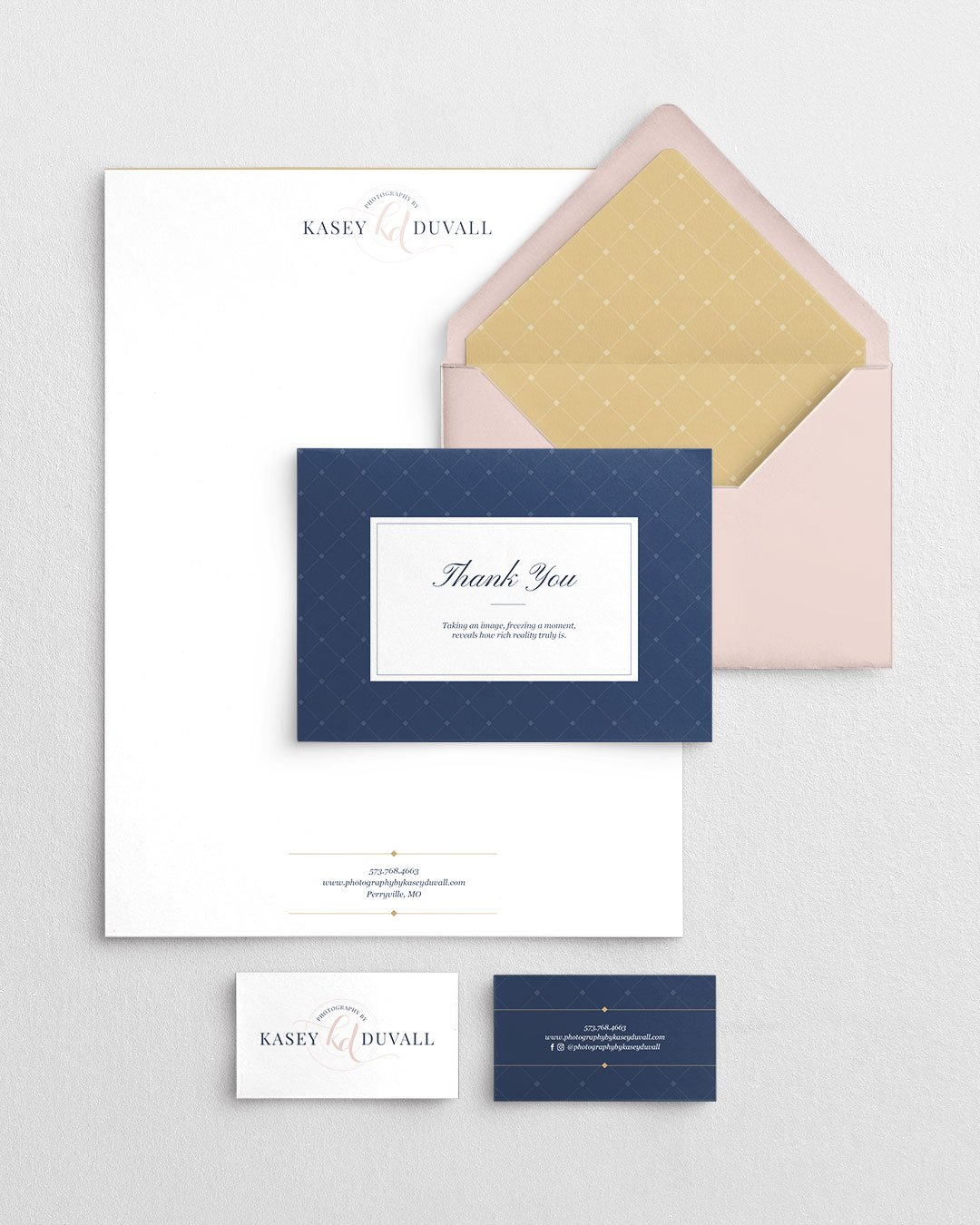 collateral and custom branding for photographer kasey duvall design by taney creative