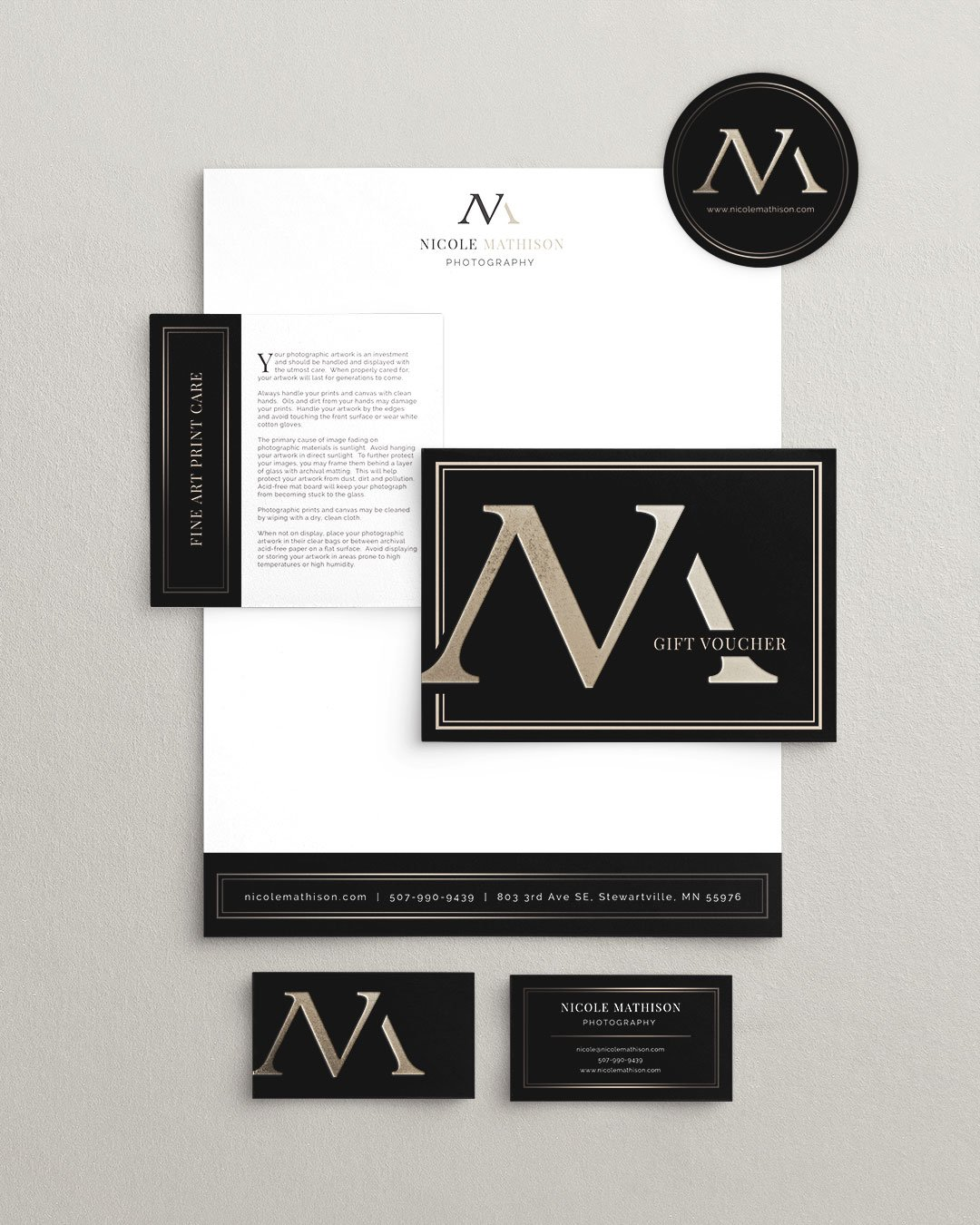 collateral design marketing cards letterhead nicole mathison photography by taney creative