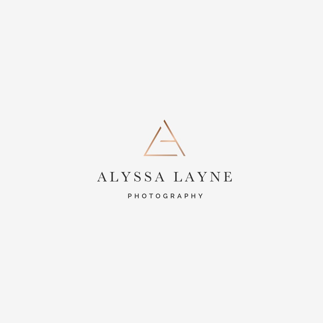 custom rose gold logo design alyssa layne photography