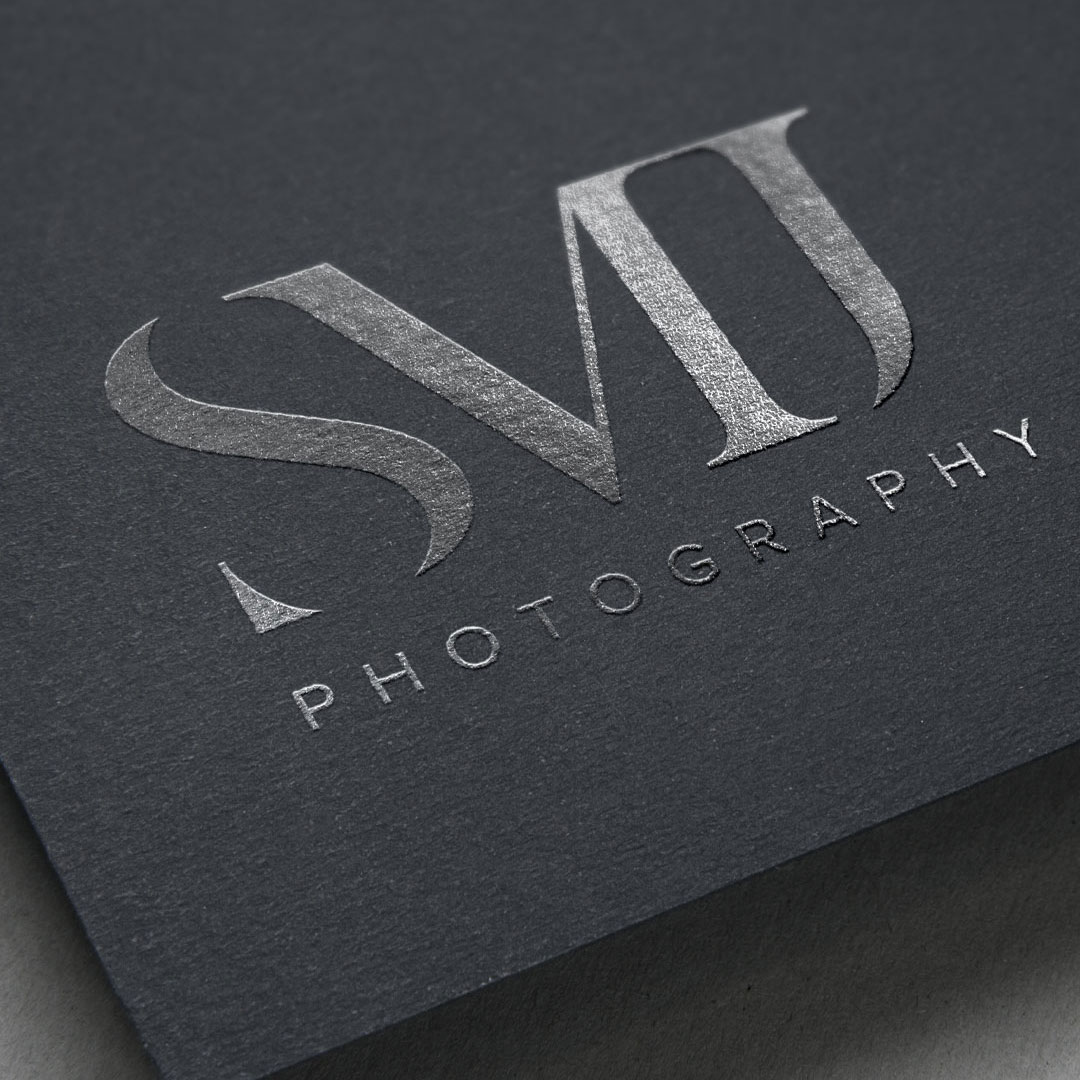 logo design silver foil smj photography design by taney creative