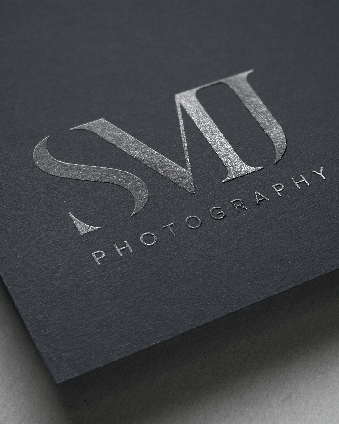 luxe logo design smj photography silver