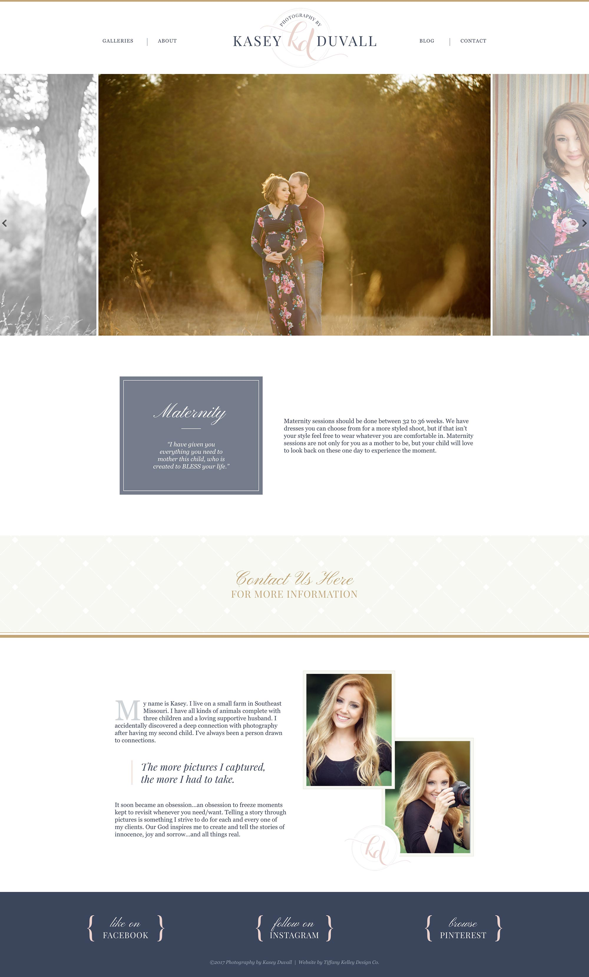 maternity web design kasey duvall photography