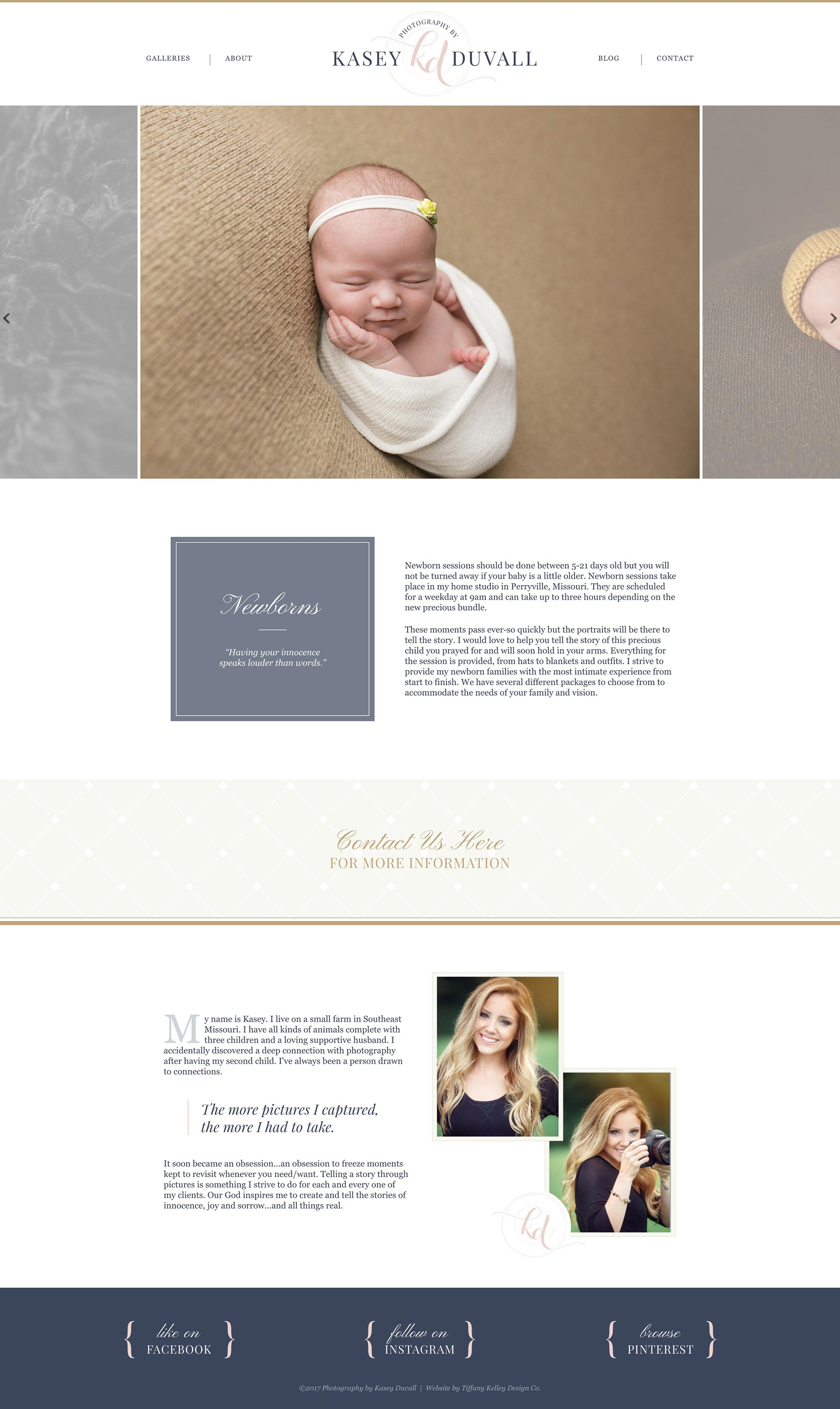 newborns web design kasey duvall photography