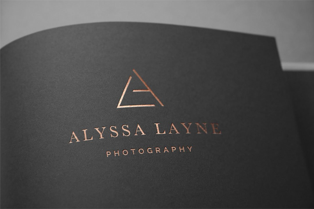 photographer logo design rose gold foil alyssa layne photography by taney creative