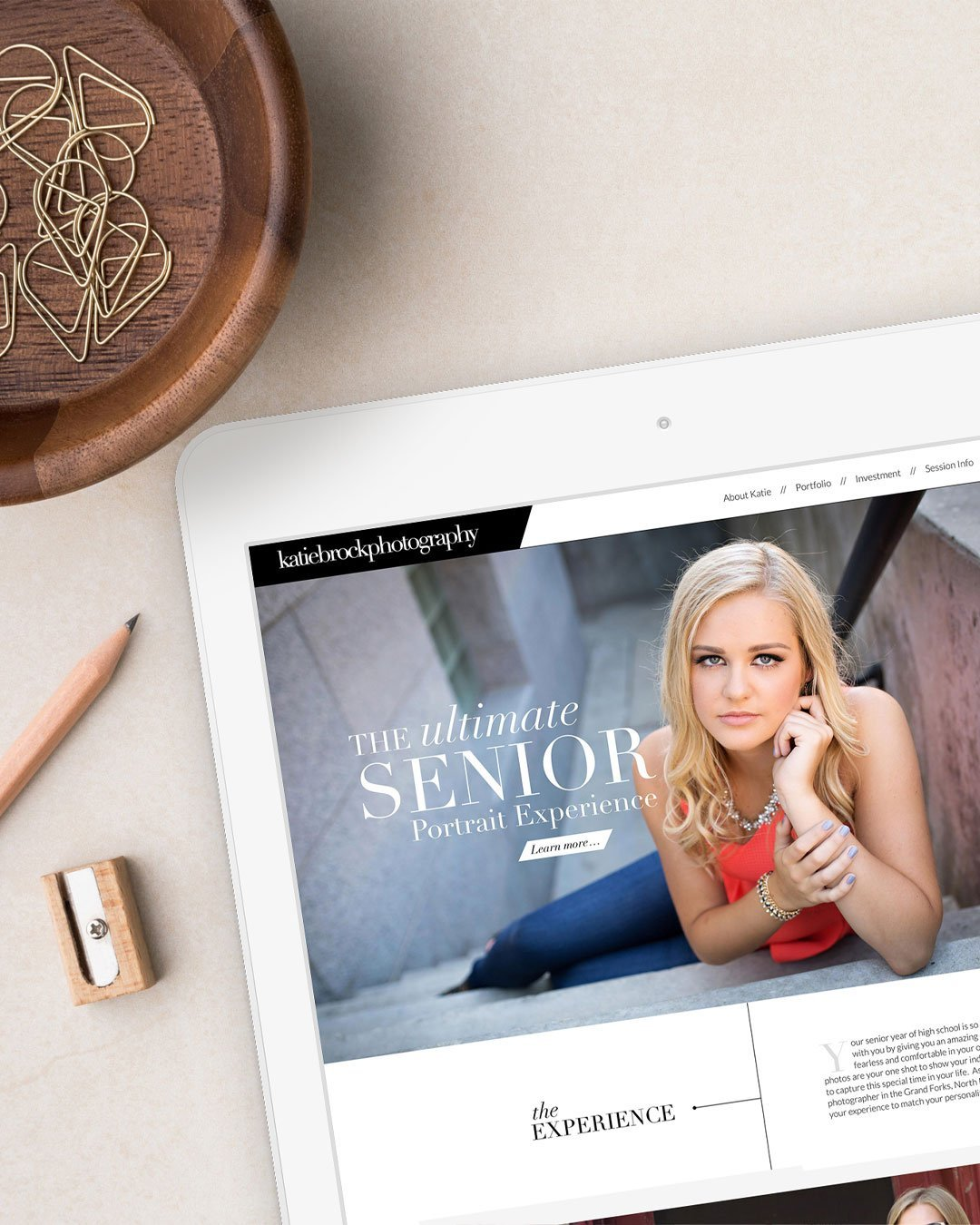 senior photographer website design katie brock photography