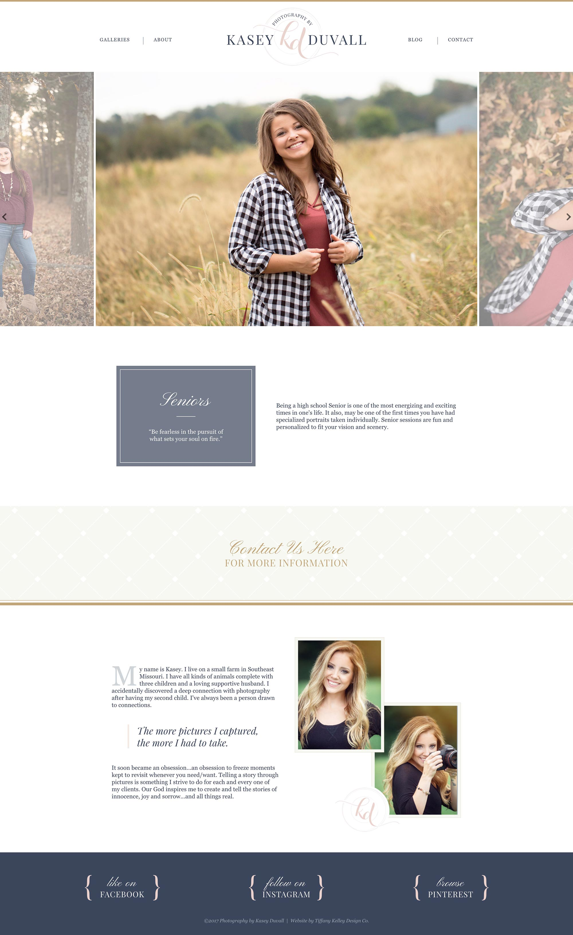 seniors web design kasey duvall photography