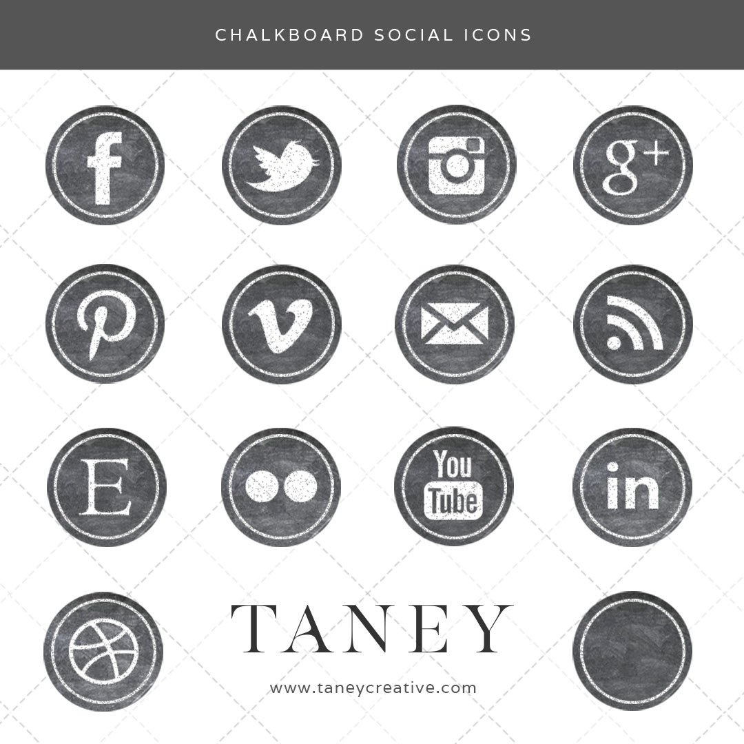 Chalkboard Social Icons Taney Creative