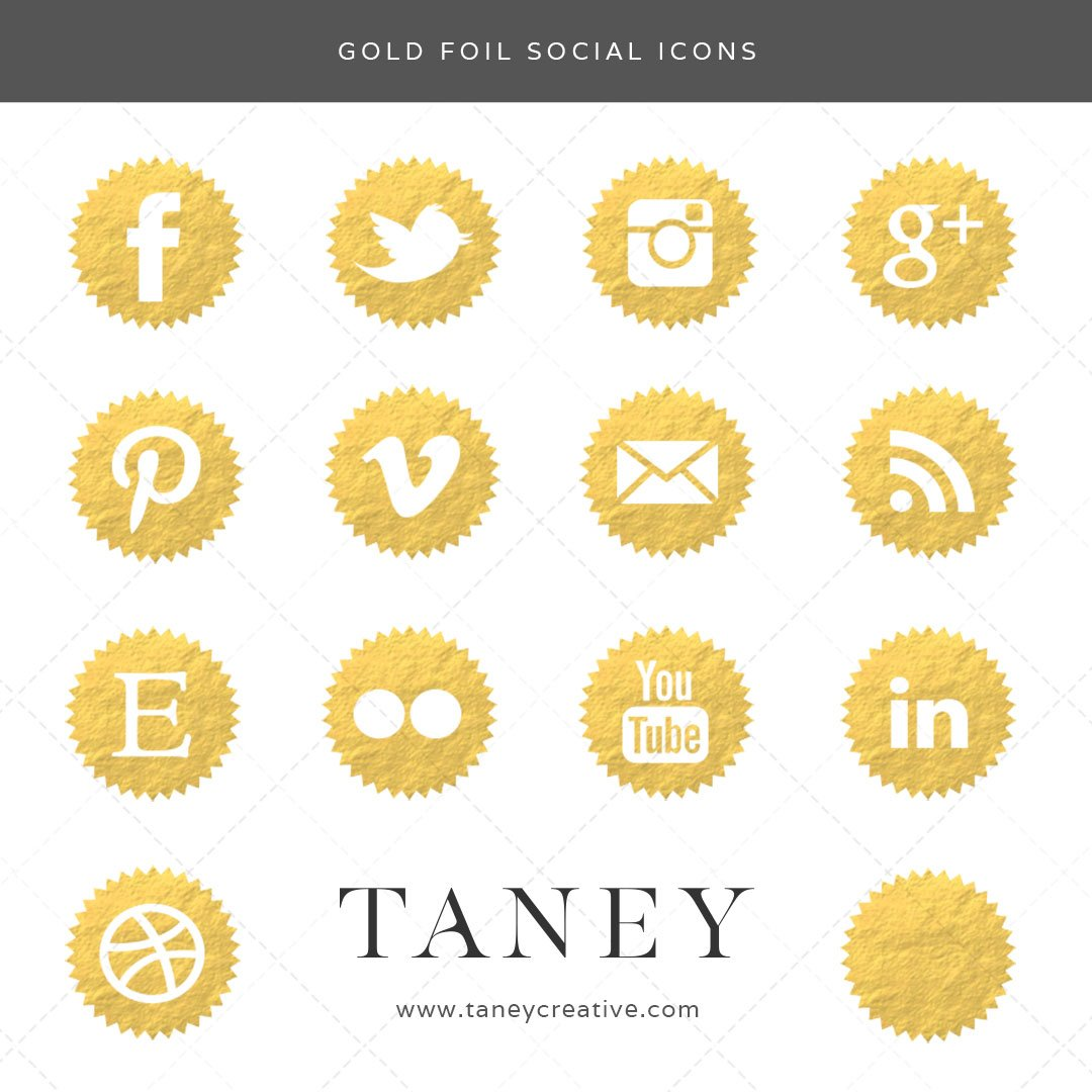 Gold Foil Social Icons Taney Creative