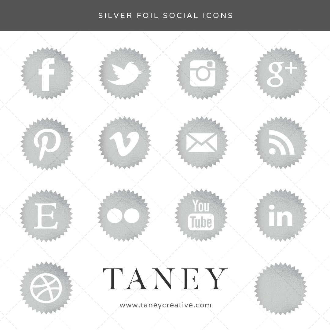 Silver Foil Social Icons Taney Creative