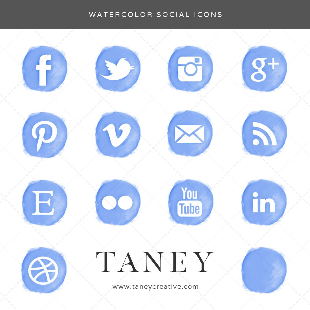 Watercolor Social Icons Blue Taney Creative