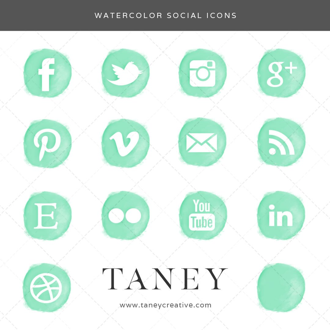 Watercolor Social Icons Mint Green Taney Creative