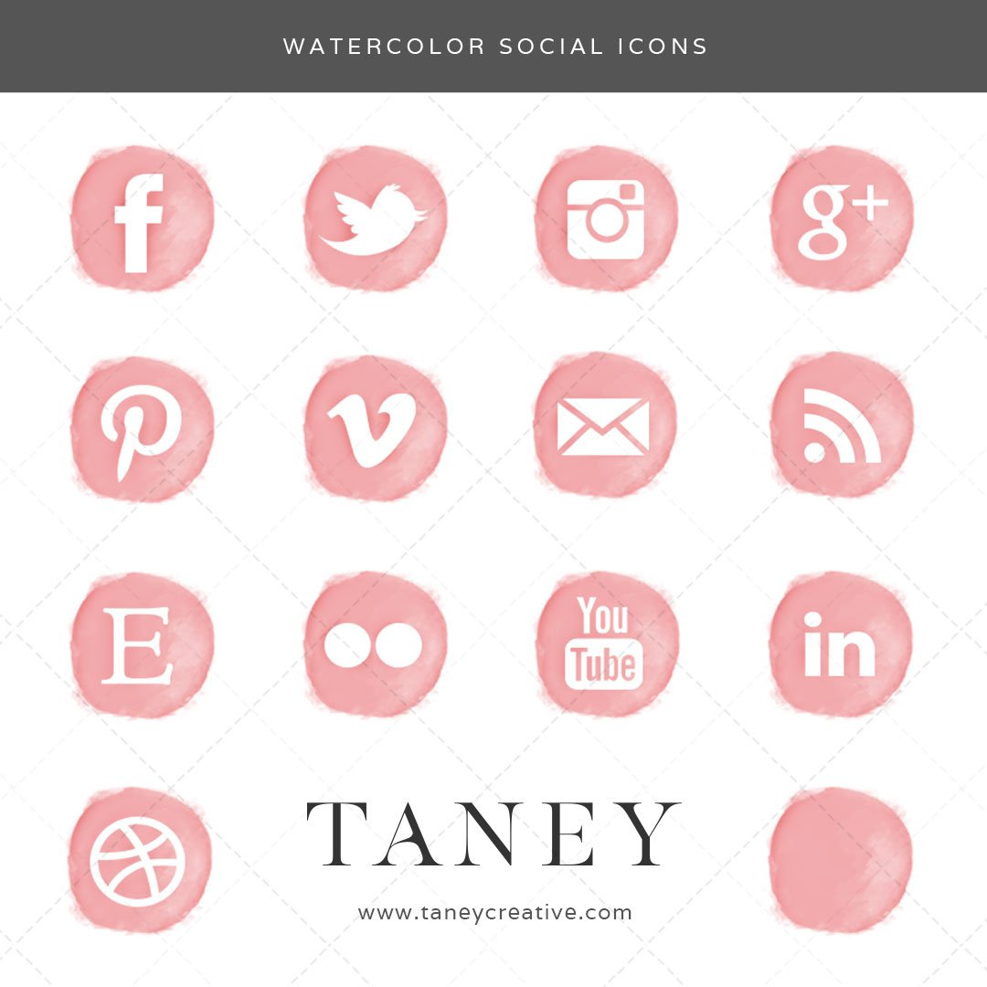 Watercolor Social Icons Pink Taney Creative