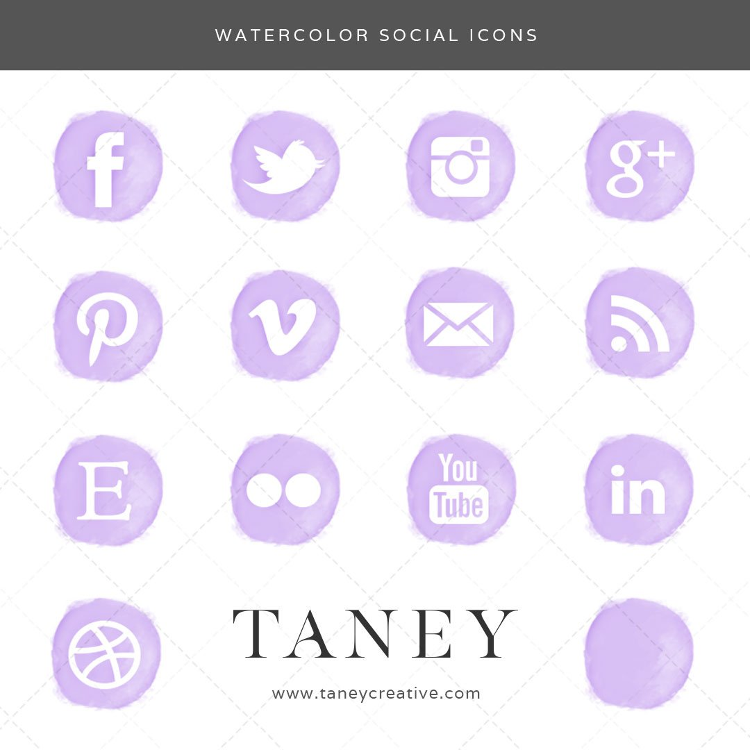 Watercolor Social Icons Purple Taney Creative