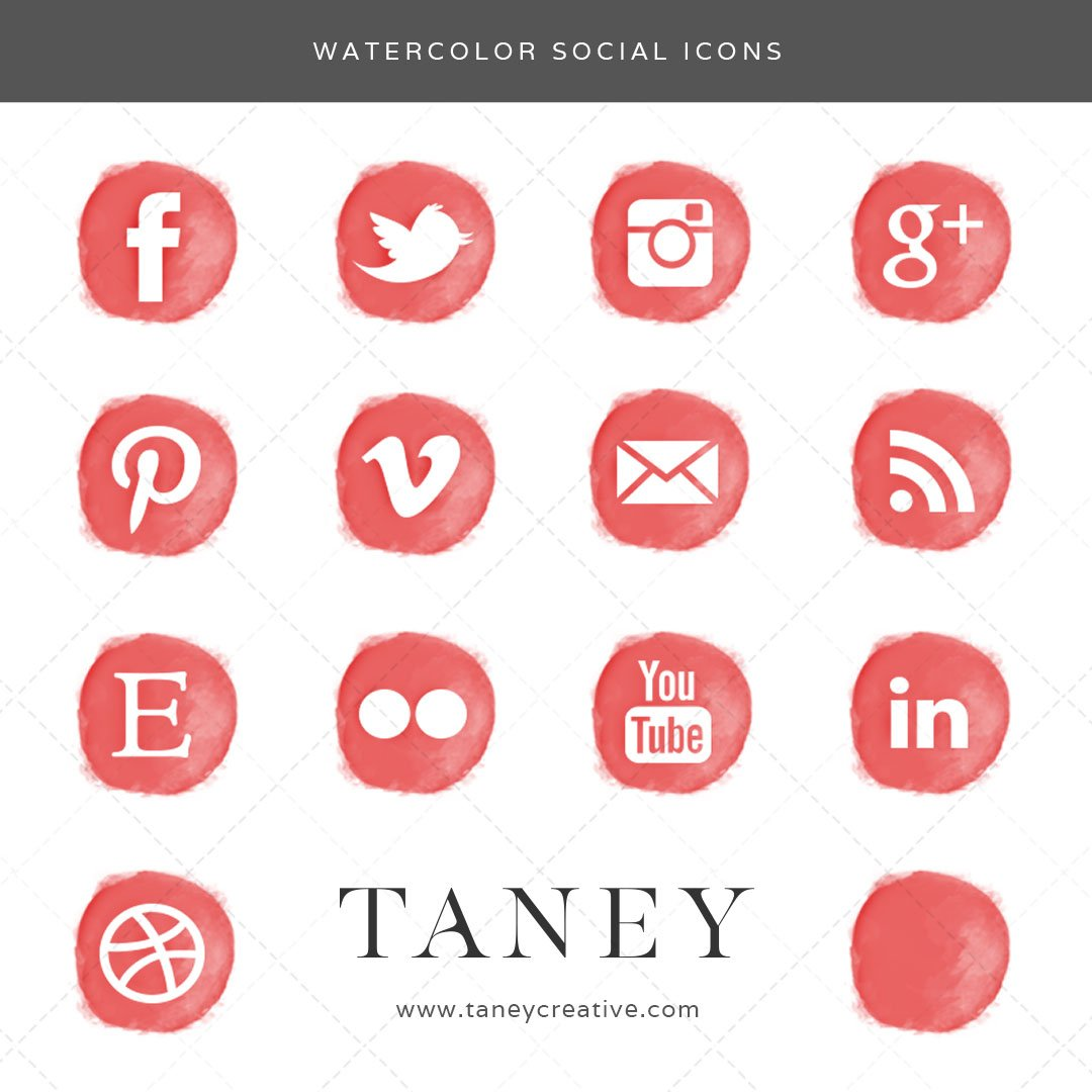 Watercolor Social Icons Red Taney Creative