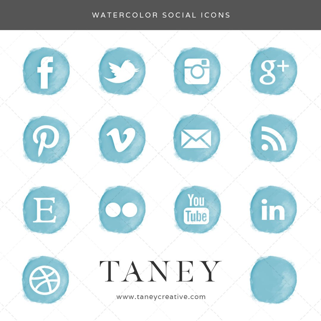 Watercolor Social Icons Teal Taney Creative