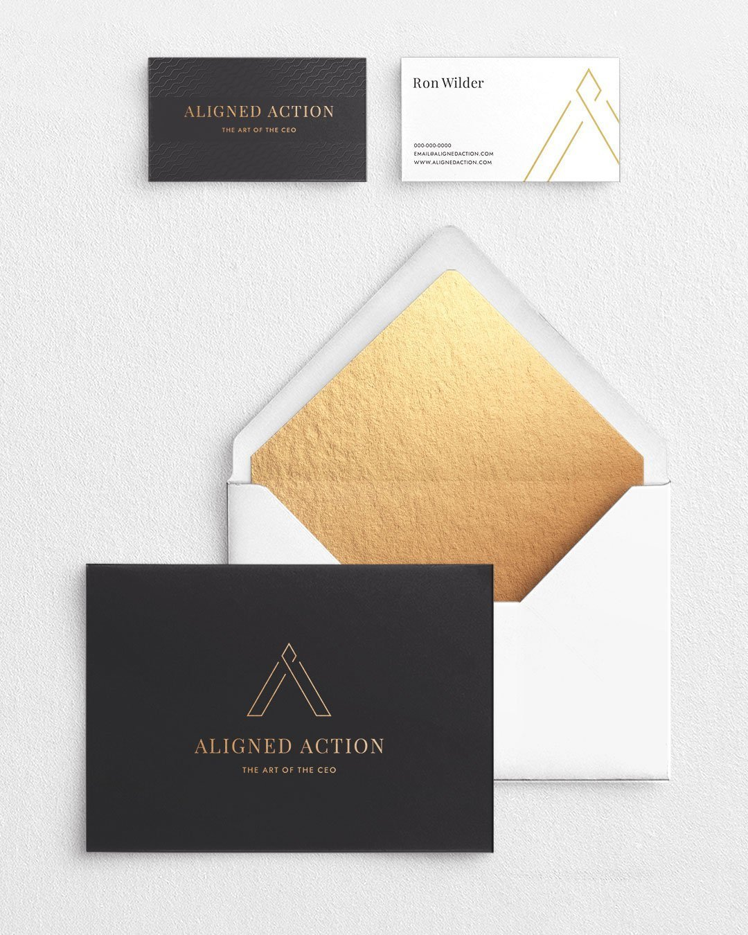 aligned action notecard business card