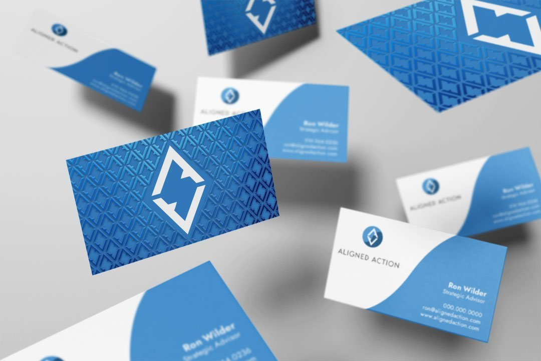 aligned action blue concept business card design by taney creative