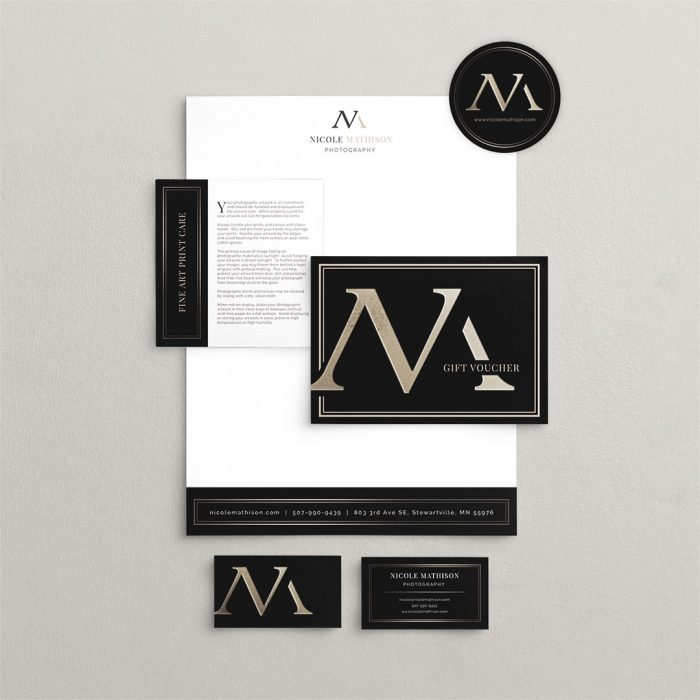 collateral design marketing cards letterhead nicole mathison photography