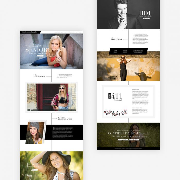 custom website senior photographer katie brock